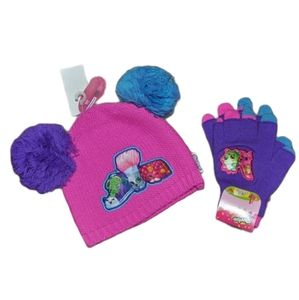 New SHOPKINS Girls' Beanie Hat + Gloves Set NWT